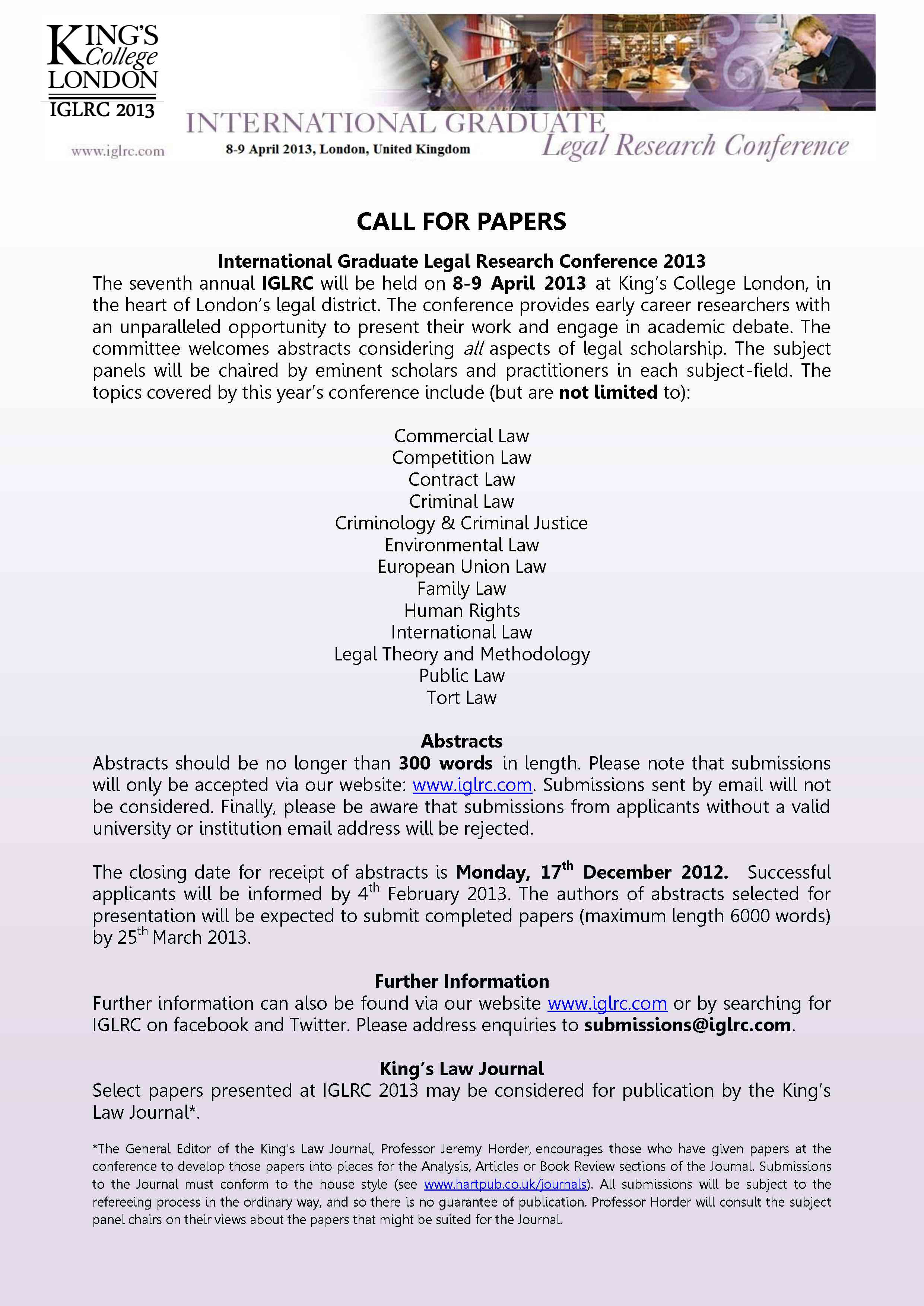 Journal of Legal Research (IJLR): Call for Editors and Papers